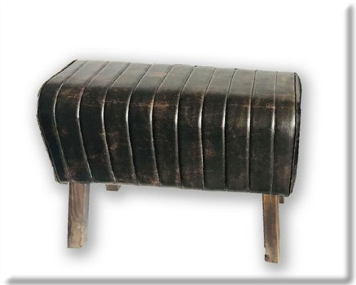 68cm Rolled Dark Faux Leather Gym Pommel Horse Stool